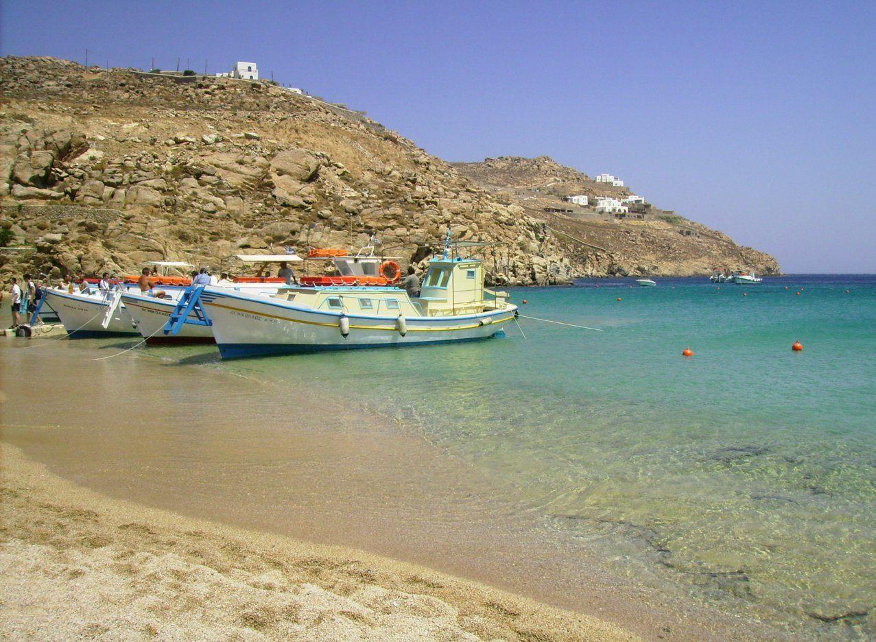 пляж на миконосе